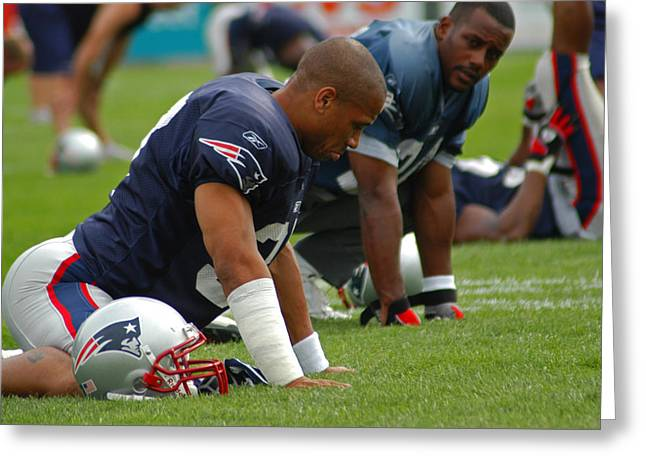 Foxboro Greeting Cards - Rodney Harrison Greeting Card by Mike Martin