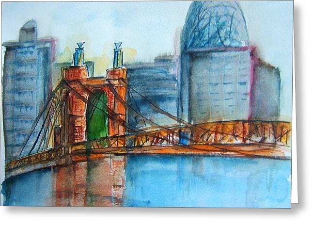 Roebling Bridge Near Dusk Greeting Card by Elaine Duras