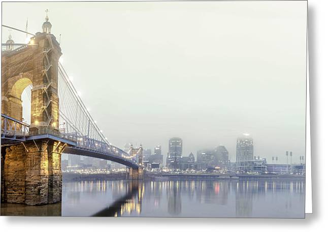 Skyline Photos Greeting Cards - Roebling in the fog Greeting Card by Keith Allen