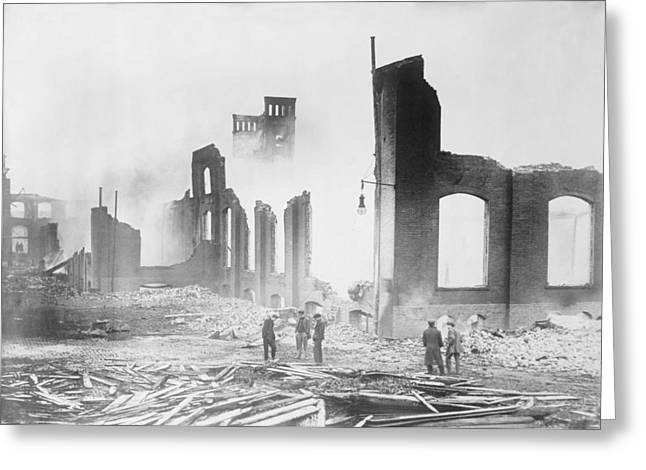 New Jersey History Greeting Cards - Roebling Wire Works after fire, 1915 Greeting Card by Science Photo Library