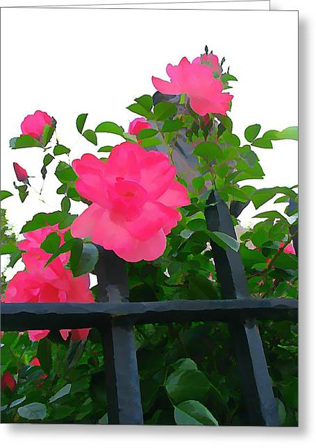 Customizable Greeting Cards - Roger and Roses Greeting Card by Anne Sterling