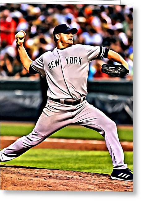 Red Sox Vintage Poster Greeting Cards - Roger Clemens Painting Greeting Card by Florian Rodarte