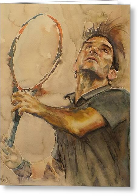 Australian Open Paintings Greeting Cards - Roger Federer - Portrait 1 Greeting Card by Baresh Kebar - Kibar