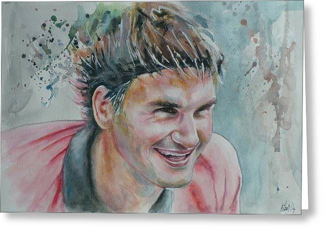French Open Paintings Greeting Cards - Roger Federer - Portrait 3 Greeting Card by Baresh Kebar - Kibar