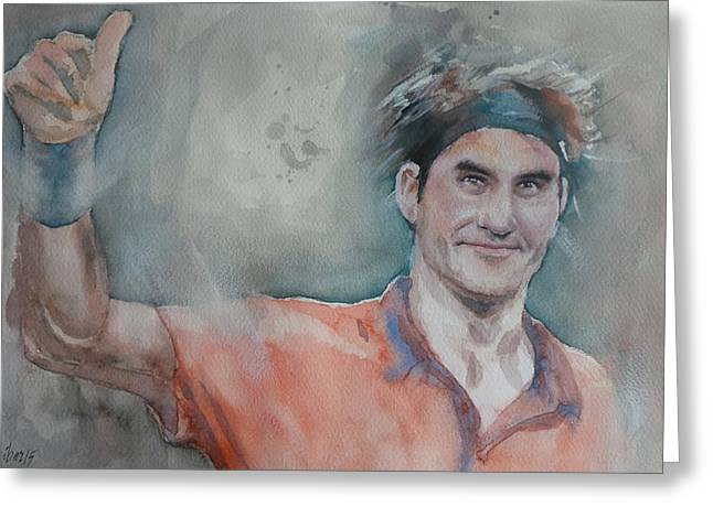French Open Paintings Greeting Cards - Roger Federer - Portrait 4 Greeting Card by Baresh Kebar - Kibar