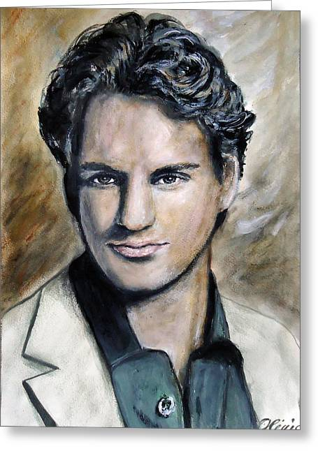 Roger Federer Paintings Greeting Cards - Roger Federer - portrait Greeting Card by Olivia Gray