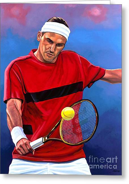 Wimbledon Greeting Cards - Roger Federer 2 Greeting Card by Paul  Meijering