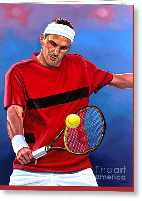French Open Paintings Greeting Cards - Roger Federer 2 Greeting Card by Paul  Meijering