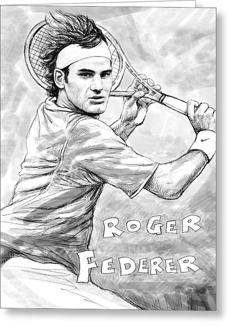 Player Drawings Greeting Cards - Roger federer art drawing sketch portrait Greeting Card by Kim Wang