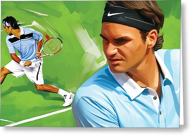 Sports Prints Greeting Cards - Roger Federer Artwork Greeting Card by Sheraz A