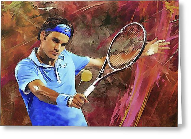 Rochvanh Greeting Cards - Roger Federer Backhand Art Greeting Card by RochVanh