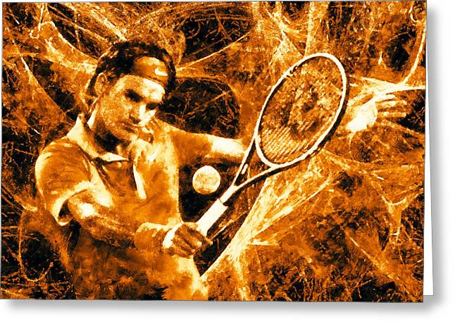 Nike Greeting Cards - Roger Federer Clay Greeting Card by RochVanh
