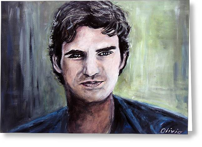 Roger Federer Paintings Greeting Cards - Roger Federer Greeting Card by Olivia Gray