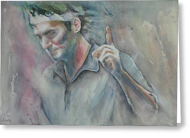 French Open Paintings Greeting Cards - Roger Federer - Portrait 2 Greeting Card by Baresh Kebar - Kibar