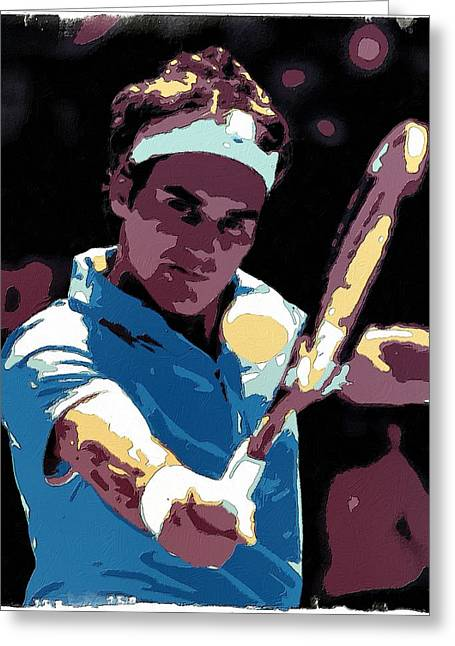 Tennis Champion Greeting Cards - Roger Federer Portrait Art Greeting Card by Florian Rodarte