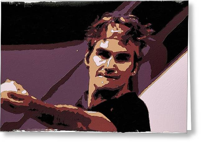 Tennis Champion Greeting Cards - Roger Federer Poster Art Greeting Card by Florian Rodarte