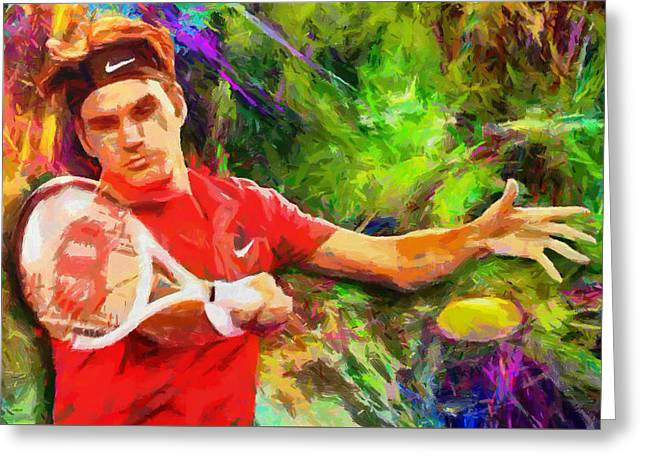Work Digital Greeting Cards - Roger Federer Greeting Card by RochVanh