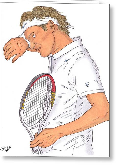 Wimbledon Drawings Greeting Cards - Roger Federer Greeting Card by Steven White