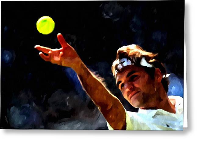 Roger Federer Greeting Cards - Roger Federer tennis 1 Greeting Card by Lanjee Chee