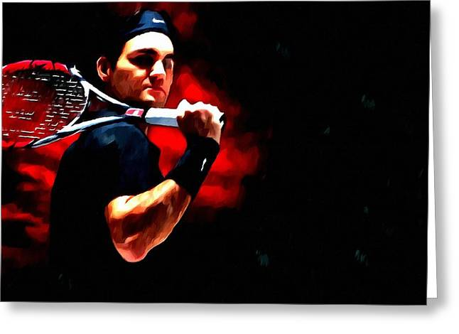 Roger Federer Tennis Greeting Card by Lanjee Chee