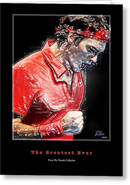 Davis Cup Greeting Cards - Roger Federer  The Greatest Ever Greeting Card by Joe Paradis