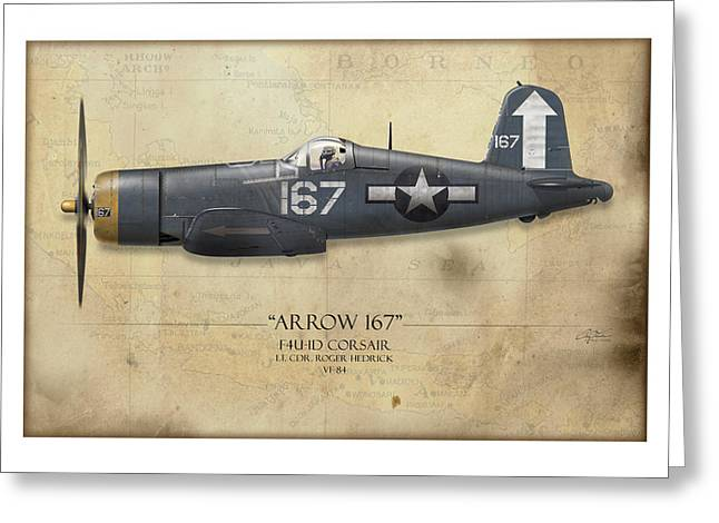 Aircraft Carrier Greeting Cards - Roger Hedrick F4U Corsair - Map Background Greeting Card by Craig Tinder