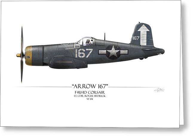 Aircraft Carrier Greeting Cards - Roger Hedrick F4U Corsair - White Background Greeting Card by Craig Tinder