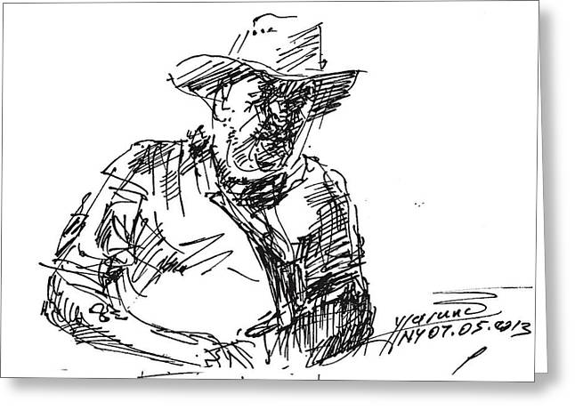 Cowboy Sketches Greeting Cards - Roger In A Cowboy Hat Greeting Card by Ylli Haruni