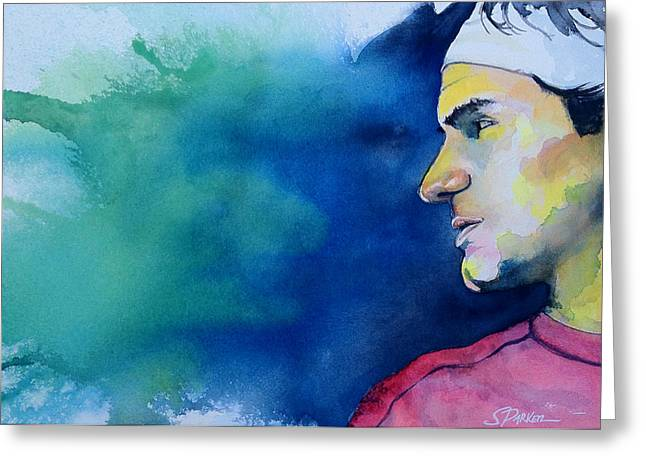 Us Open Greeting Cards - Roger Greeting Card by Scott  Parker