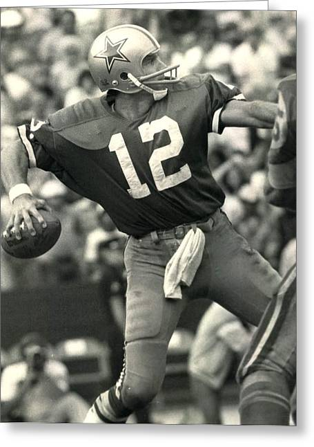 Sports Fields Greeting Cards - Roger Staubach Vintage NFL Poster Greeting Card by Gianfranco Weiss