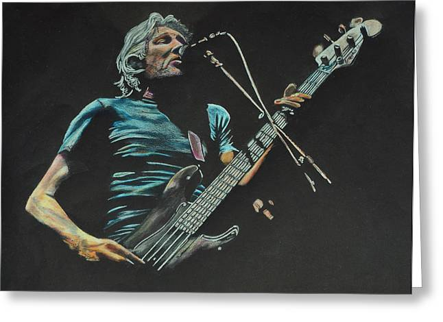 Player Drawings Greeting Cards - Roger Waters. Greeting Card by Breyhs