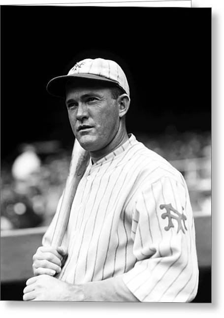 Classic Baseball Players Greeting Cards - Rogers Hornsby Bat On Shoulder Greeting Card by Retro Images Archive