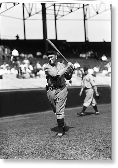 Classic Baseball Players Greeting Cards - Rogers Hornsby Follow Through Swing Greeting Card by Retro Images Archive