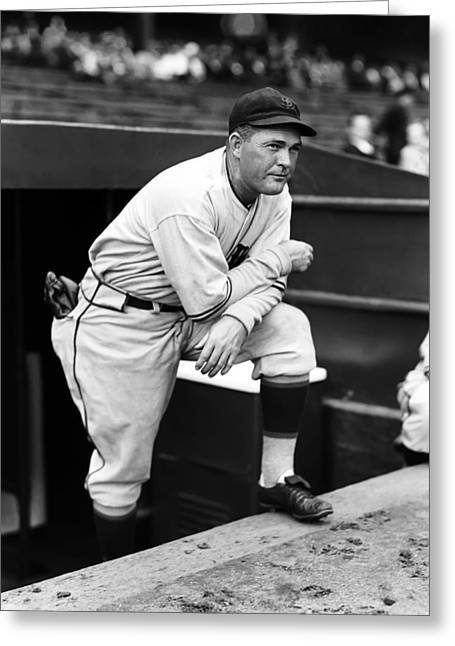 Classic Baseball Players Greeting Cards - Rogers Hornsby Leaning On One Knee Greeting Card by Retro Images Archive