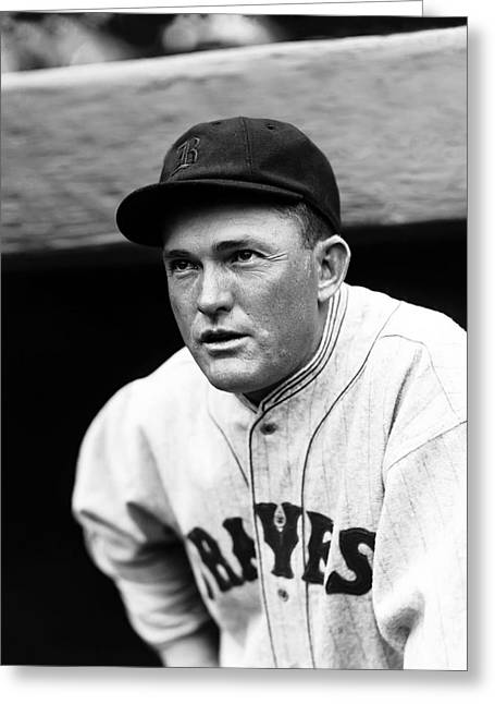 Historical Pictures Greeting Cards - Rogers Hornsby Leaning Out Of Dug Out Greeting Card by Retro Images Archive