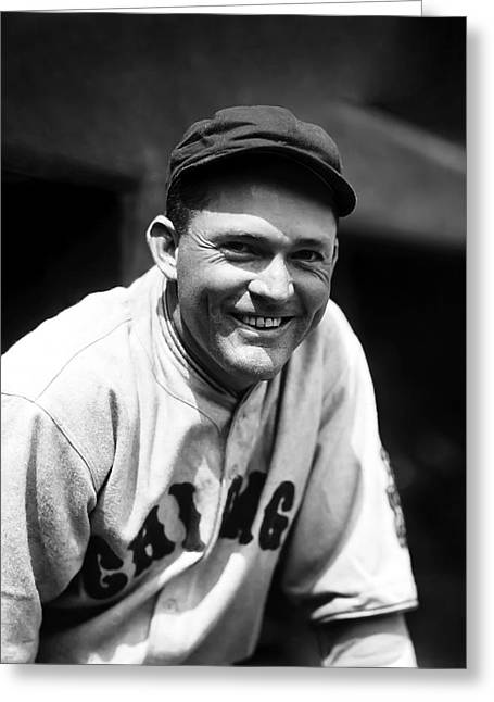 Classic Baseball Players Greeting Cards - Rogers Hornsby Leaning Smiling Greeting Card by Retro Images Archive