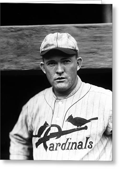 Classic Baseball Players Greeting Cards - Rogers Hornsby Looking Into Camera Greeting Card by Retro Images Archive