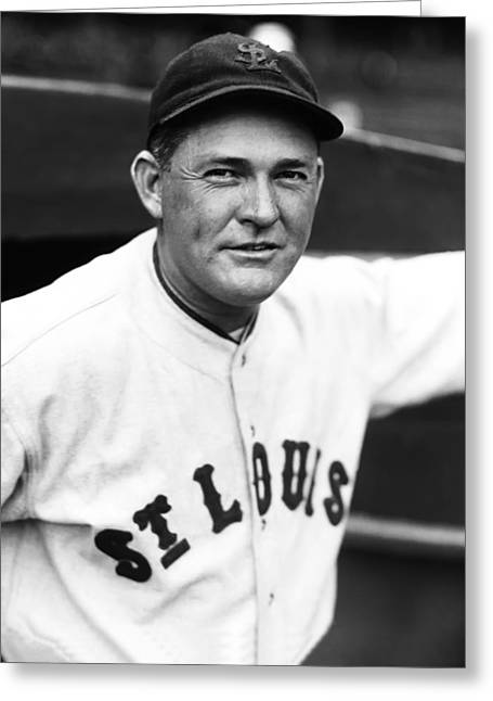 Mvp Greeting Cards - Rogers Hornsby Looking Into Camera Smiling Greeting Card by Retro Images Archive
