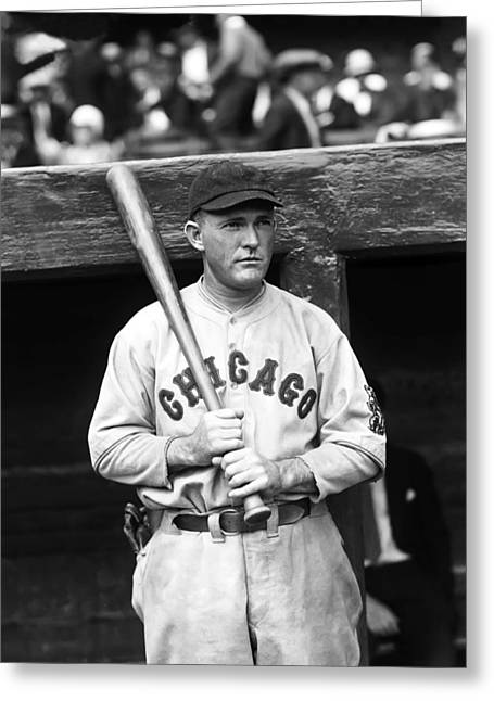 Classic Baseball Players Greeting Cards - Rogers Hornsby Outside Dugout  Greeting Card by Retro Images Archive