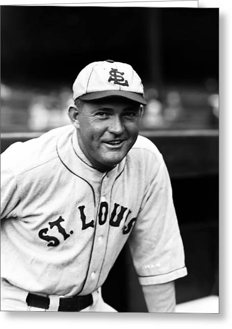 Classic Baseball Players Greeting Cards - Rogers Hornsby Outside Dugout Smiling Greeting Card by Retro Images Archive