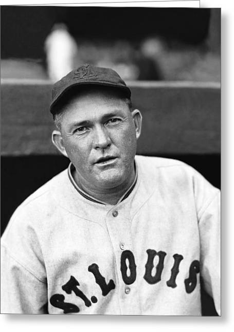 Classic Baseball Players Greeting Cards - Rogers Hornsby Poses For Photo Greeting Card by Retro Images Archive