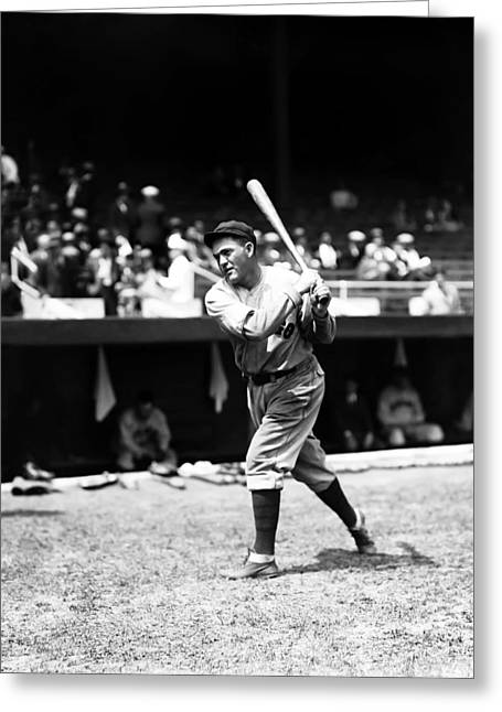 Classic Baseball Players Greeting Cards - Rogers Hornsby Pre Game Swings Greeting Card by Retro Images Archive