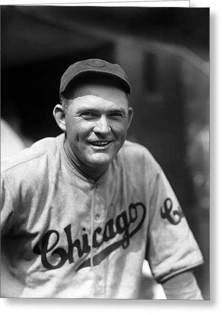 Classic Baseball Players Greeting Cards - Rogers Hornsby Smiling In Cubs Jersey Greeting Card by Retro Images Archive