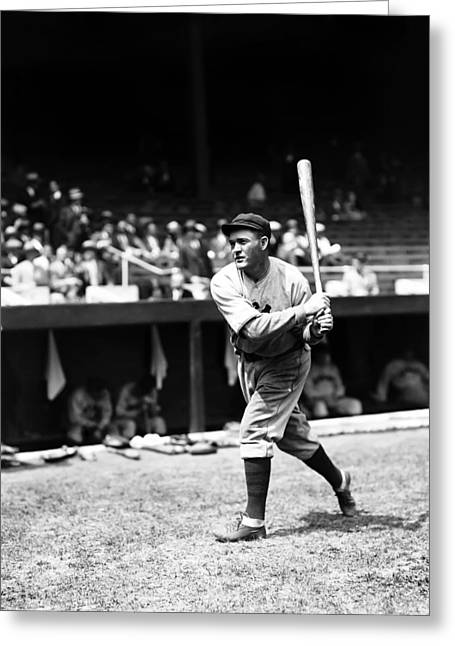 Classic Baseball Players Greeting Cards - Rogers Hornsby Warm Up Swings Greeting Card by Retro Images Archive