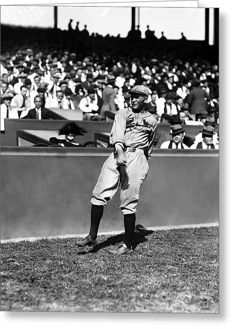 Classic Baseball Players Greeting Cards - Rogers Hornsby Warm Up Throws Greeting Card by Retro Images Archive