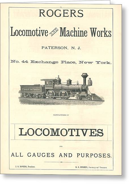 Advertisment Greeting Cards - Rogers Locomotive and Machine Works Ad Greeting Card by MMG Archive Prints
