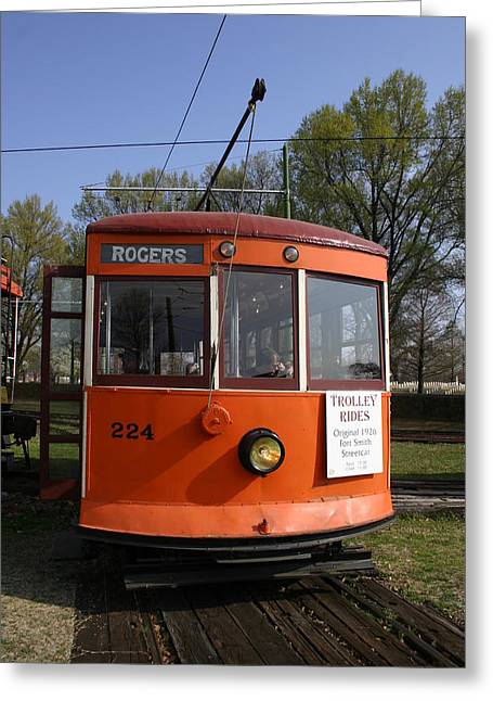 Rogers Trolley Greeting Card by Nina Fosdick