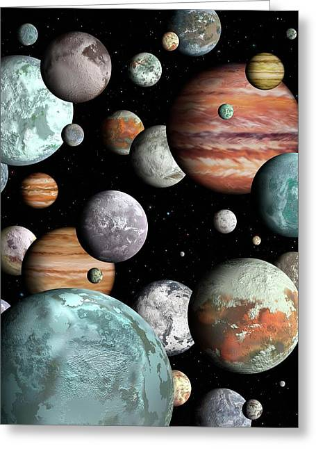 Rogue Planets Greeting Card by Lynette Cook