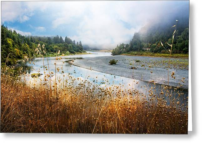 Foggy Beach Greeting Cards - Rogue River Greeting Card by Debra and Dave Vanderlaan