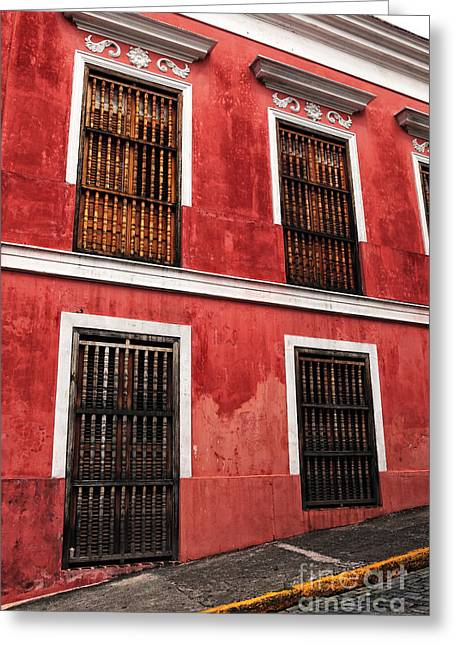 Old San Juan Greeting Cards - Rojo de San Juan Greeting Card by John Rizzuto